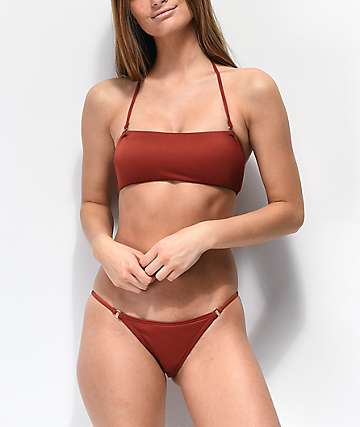 Damsel File Ribbed Brick Red Super Cheeky Bikini Bottoms
