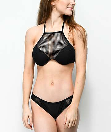 Damsel Fishnet Insert Black Cheeky Bikini Bottom