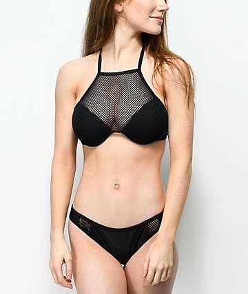 Damsel Fishnet Inset Black Cheeky Bikini Bottom