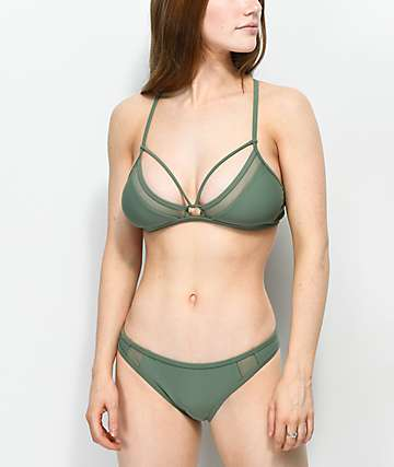 Damsel Mesh Inset Olive Cheeky Bikini Bottom