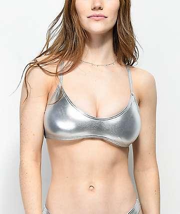 Damsel Metallic Silver Bralette Bikini Top