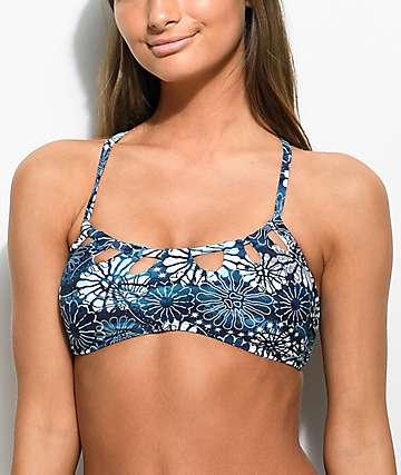 Damsel Ocean Blue Floral Cheeky Bikini Bottom