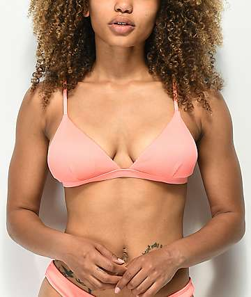 Damsel Peach Sorbet Ribbed Triangle Bikini Top