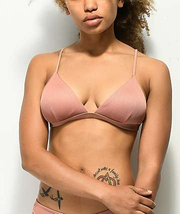 Damsel Ribbed Pink Beige Triangle Bikini Top
