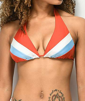 Damsel Shimmer Burnt Red, Blue & White Triangle Halter Bikini Top