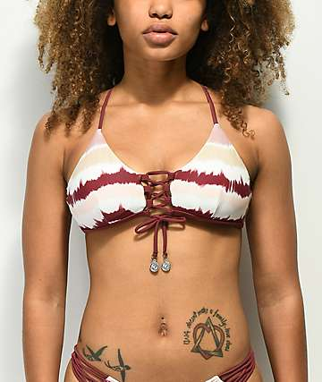 Damsel Summertime Tie Dye Lace Up Bralette Bikini Top