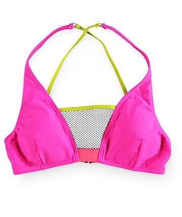 Damsel Vogue Colorblock Mesh Triangle Bikini Top
