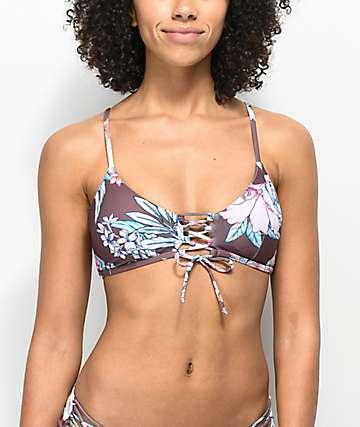 Damsel Waikiki top de bikini morado con cordones