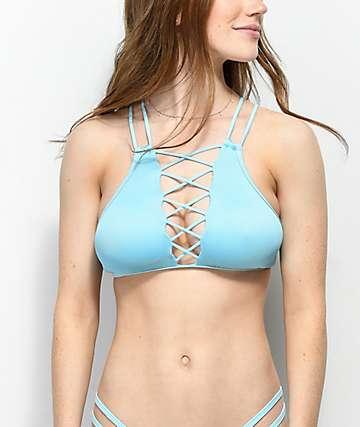 Damsel top de bikini de cuello alto azul claro
