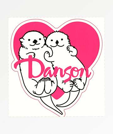 Danson Otter Love Pink & White Sticker
