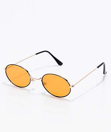 Dark Alley Orange Translucent Round Sunglasses