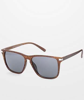 Dark Faux Wood Wayfarer Sunglasses
