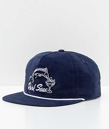 Dark Seas Albany Navy Corduroy Hat