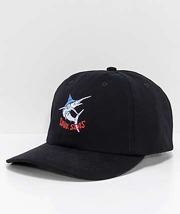 Dark Seas Bill Fish Black Strapback Hat
