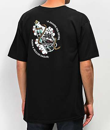 Dark Seas Black Rose Black T-Shirt