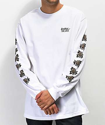 Dark Seas Black Rose White Long Sleeve T-Shirt