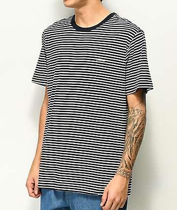Dark Seas Canberra camiseta de punto a rayas blancas y azul marino