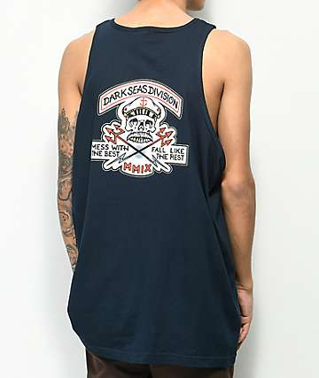 Dark Seas Cut Above Navy Tank Top