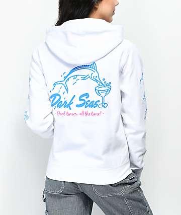 Dark Seas Dino Dive sudadera blanca con capucha