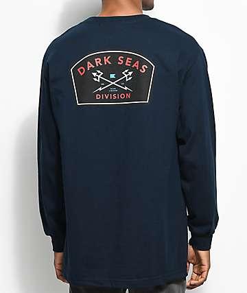 Dark Seas Headmaster Badge Navy Long Sleeve T-Shirt