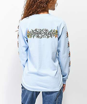 Dark Seas Memorial Flower Light Blue Long Sleeve T-Shirt