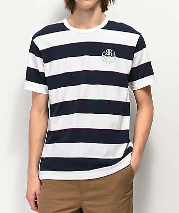 Dark Seas Mondo Striped White & Navy T-Shirt