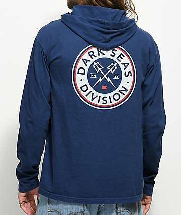Dark Seas Navigator Navy Long Sleeve Hooded Shirt
