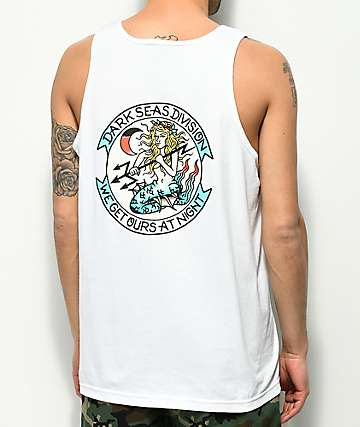 Dark Seas Night Fall White Tank Top