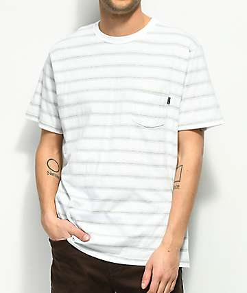 Dark Seas Olana White & Mint Striped Pocket T-Shirt