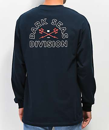 Dark Seas Outlines Navy Long Sleeve T-Shirt