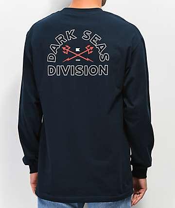 Dark Seas Outlines camiseta de manga larga azul marino
