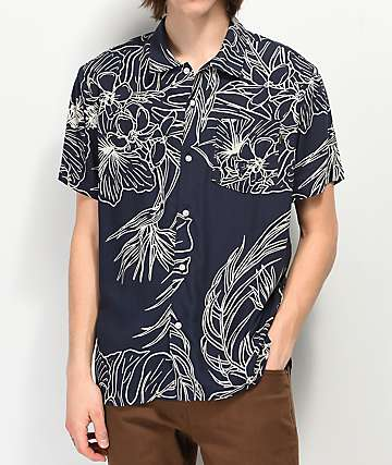 Dark Seas Rivermouth Navy Woven Short Sleeve Button Up Shirt