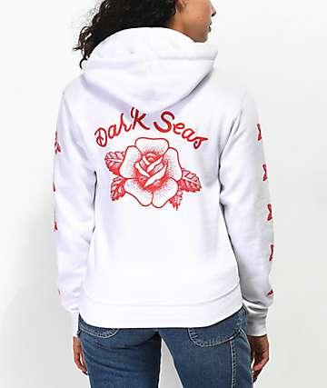 Dark Seas Rose White Hoodie