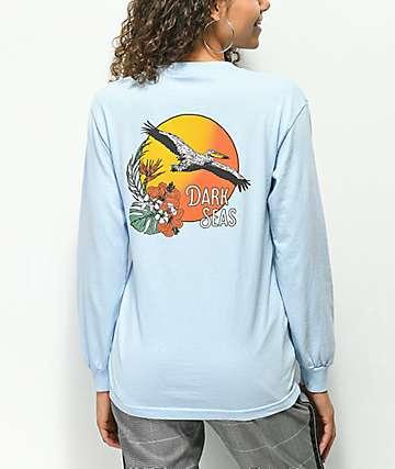 Dark Seas Sea Bird Blue Long Sleeve T-Shirt