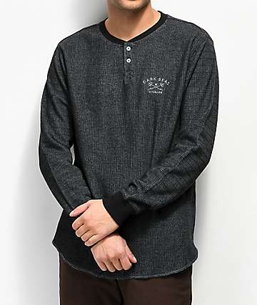 Dark Seas Street Black & Blue Henley Long Sleeve Knit Shirt
