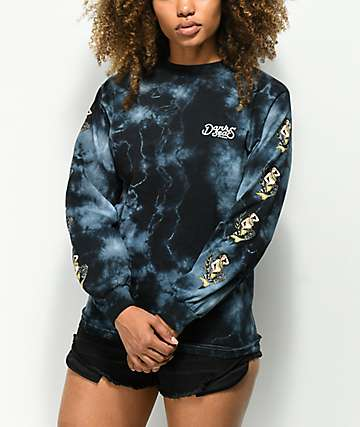 Dark Seas Upstream Black Tie Dye Long Sleeve T-Shirt