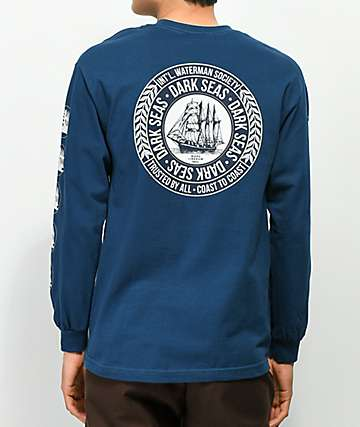 Dark Seas Watermarked Harbor Blue Long Sleeve T-Shirt