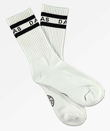 Dark Seas Workup White Crew Socks