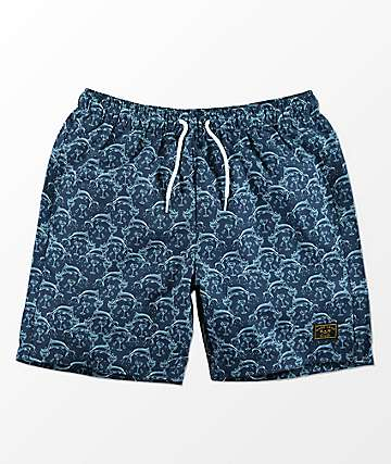 Dark Seas Zubies Elastic Waist Printed Navy Board Shorts