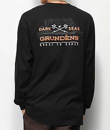 Dark Seas x Grundens Surf Waves camiseta negra de manga larga