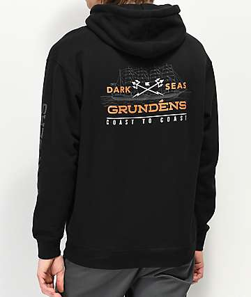 Dark Seas x Grundens Surface Waves Black Hoodie