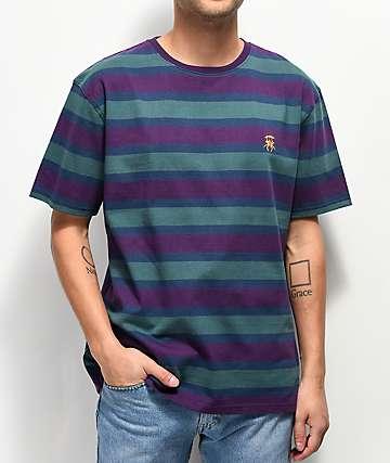 Deathworld  camiseta de rayas verdes, moradas  y azules