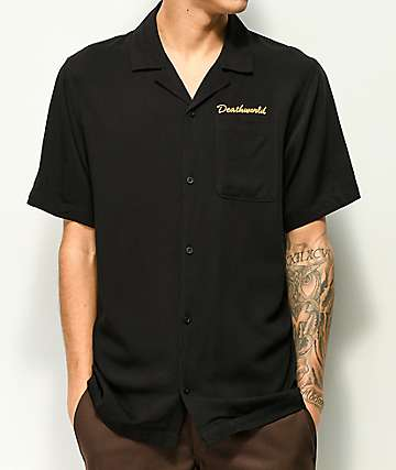 Deathworld Black Short Sleeve Button Up Bowling Shirt