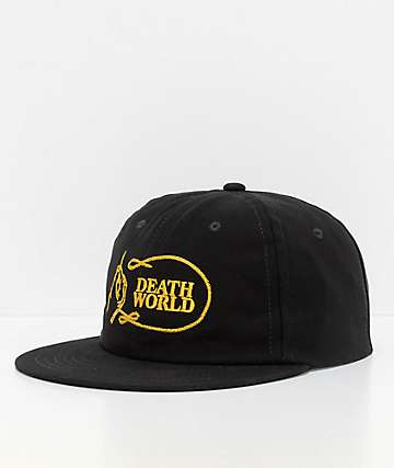 Deathworld Chainstitch Black Strapback Hat