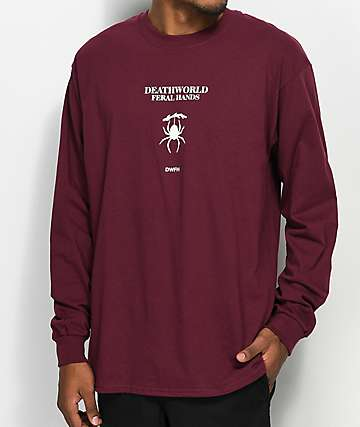 Deathworld Evarcha Burgundy Long Sleeve T-Shirt