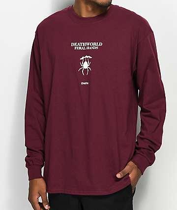 Deathworld Evarcha camiseta de manga larga en color borgoño