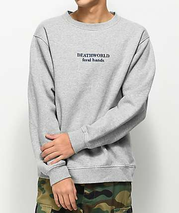 Deathworld Feral Grey Fleece Crew Neck Sweatshirt