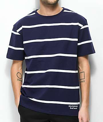 Deathworld Greece Navy & White Stripe T-Shirt