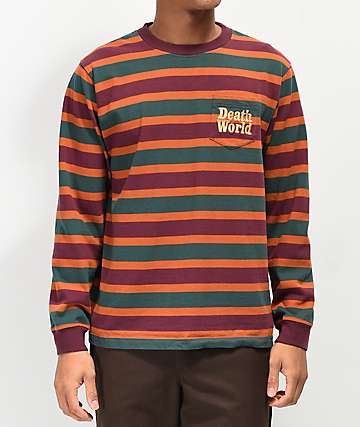Deathworld Green, Purple & Orange Striped Long Sleeve Knit T-Shirt