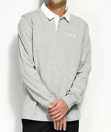 Deathworld Springbok Grey & White Long Sleeve Polo Shirt